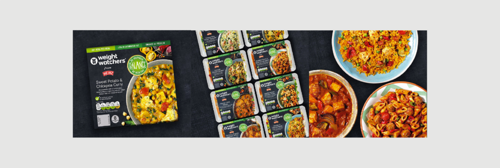 Packaging and visual identity for the Balance Weight Watchers range of frozen ready meals from Heinz.